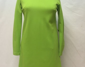Vintage 1950's or 1960's Lime Green Dress