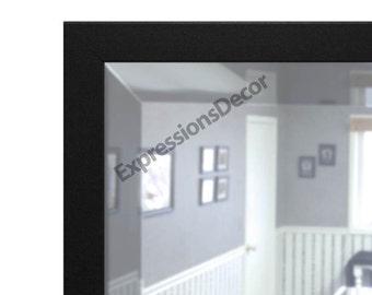 Custom Matte Black Contemporary Wall Mirror, Minimal - Beveled Glass - FREE SHIPPING