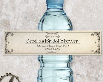 """Printable Steampunk Water Bottle Labels - Bridal Wedding Shower; Personalized 8"""" x 2"""" Labels - Editable PDF, Instant Download"""