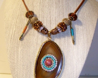natural stone copper necklace western cowgirl native american bling