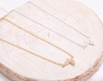 CZ Pave Tiny Butterfly Pendant Necklace