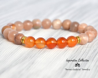 Carnelian & Sunstone womens beaded bracelet|Gift|for her|Mala Beads|Energy Bracelet|Gemstone Jewelry Yoga Bracelet