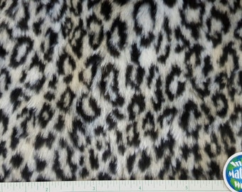 """Faux Fur Fabric, White Leopard, Snow Leopard Fabric,  Animal Print, White & Black, Small Remnant 16"""" x 17"""" and 8""""x9"""""""