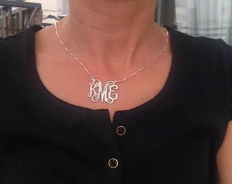 Large Monogram necklace, Personalized Gift, Monogramed Initial, Sterling Silver Initial, silver necklace, Small Monogram necklace 925 silver