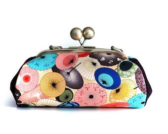 Colorful Clutch Bag, Parasols Fabric Purse, Evening bag, Kiss Lock Purse, Summer Bag, Clutch with strap, Japanese Fabric, Umbrella Bag,