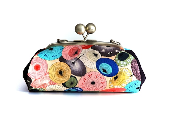 Colorful Clutch Purse, Parasols Bag, Evening Bag, Kiss Lock Purse, Clutch with Strap, Japanese Fabric, Umbrella, Unique Gifts for her