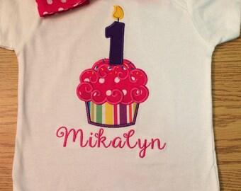 First Birthday cupcake shirt