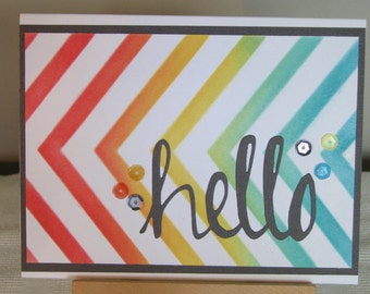 "Vibrant multi-hued hand-colored ""Hello"" greeting card"