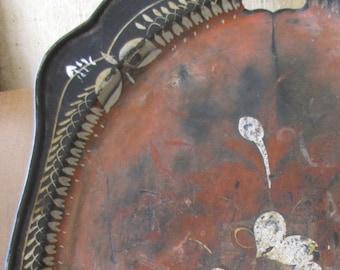 Antique Handpainted Tin Tole Tray/ Serving Trays/ Unique Decorative Accent Pieces
