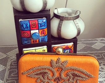 Elegant Carrot Orange/Zardosi Embroidered Clutch/Wedding Clutch/ Handmade Clutch/Party Clutch/Functional Clutch/Evening Clutch
