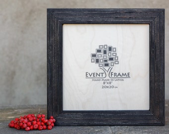 8x8 square picture frame instagram size unique rustic design natural wood photo frame stripy style handmade chose your color