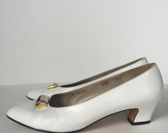 Vintage White Leather Ferragamo Heels