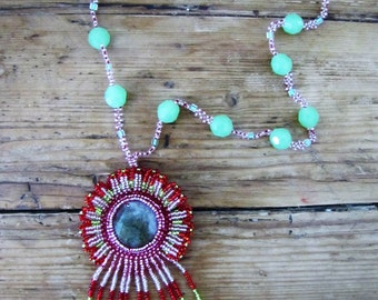 Agate and Nephrite Necklace