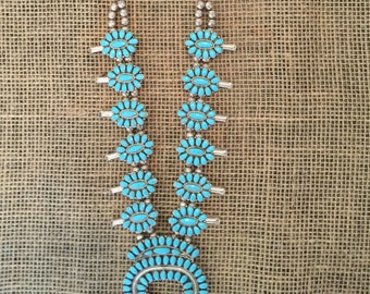 Turquoise Cluster Squash Blossom Necklace