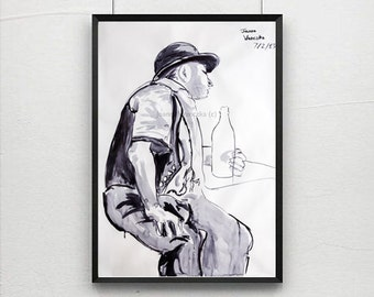 Ink Drawing High Quality Life Drawing Prints. Original made in Indian Ink. Large Wall Art, Ink Painting Print, poster, larger art poster,
