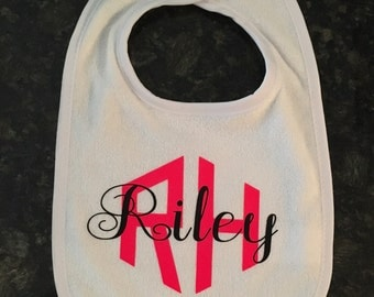 Personalized Bib - Neon Pink and Black - Personalized for You!