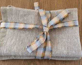 Rustic linen towels, Set of 2 towels, vintage style linen dishcloth, natural linen tea cloth, eco baltic linen, non allergic towel, gray
