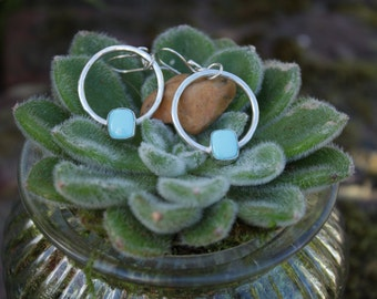 Handmade Sleeping Beauty Turquoise Sterling Silver Hoop Earrings
