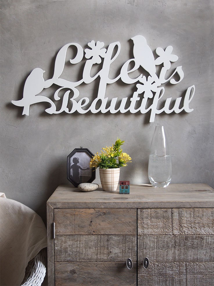Word On Wall Decor Living Room: Wall Decor Sign Cut Out Word Life Is Beautiful