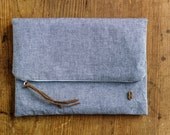 Foldover clutch, iPad / Kindle Case, Gift for Her, Grey clutch