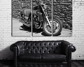 Large Motorcycle BW Wall Art Multi Panels Set BW Wall Art Motorbike Canvas Art Retro Wall Art BW Print Poster