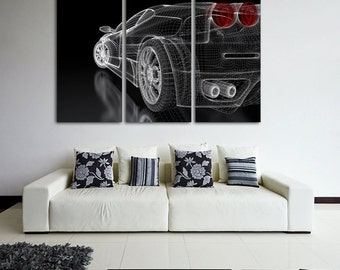 Supercar Wall Art Multi Panels Set Muscle Car Wall Art Cars Canvas Art Sport Cars Wall Art Supercar Print Poster Prototype Wall Decor Canvas