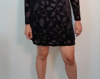 90s Black Velvet Dress. Velvet Mini Dress. Goth Dress. Grunge Dress . Little Black Dress. Leaf Pattern
