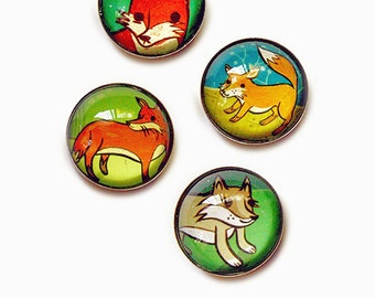 Dorm Decor - Fox Magnets - strong magnets, Fox Gift Woodland Fox Magnet Set Red Fox Woodland Animal Magnets boygirlparty ipop, dorm magnets
