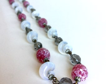 Vintage Raspberry and Opal Glass Bead Necklace, Lampwork Twist Beads White Opal Iridescent, Berry Pink Speckled Beads, Gray Faceted Glass