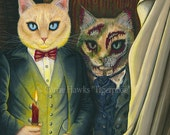 Dorian Gray Cat Art Cat Painting The Picture Of Dorian Gray Gothic Cat Art Oscar Wilde Literary Cat Art Print 12x16 Cat Lovers Art