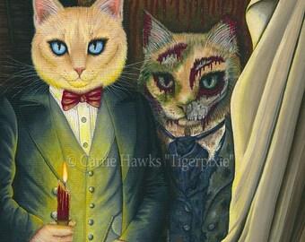 Dorian Gray Cat Art Cat Painting The Picture Of Dorian Gray Gothic Cat Art Oscar Wilde Literary Cat Art Print 12x16 Cat Lovers Art