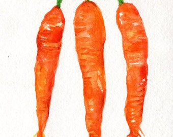 Original 3 Carrots watercolor painting,  Vegetables art, 5 x 7, Sharon Foster Art Modern minimalist, Farmhouse Decor