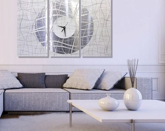 Extra Large Modern Metal Wall Art in Silver, 3 Piece Abstract Hanging Metal Wall Clock Decor - Contemporary Vibrations XL by Jon Allen
