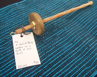 Black Limba Top Whorl Spindle on a Local Birch Shaft (DS-107)