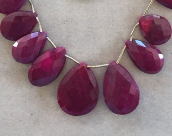 233 Carats of Genuine Ruby Faceted Briolettes  (Item # 5512)