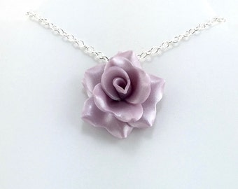 Light Wisteria Purple Rose Pendant - Simple Rose Necklace - Purple Rose Necklace - Bridesmaid, Wedding Jewelry - Polymer Clay - MADEto ORDER