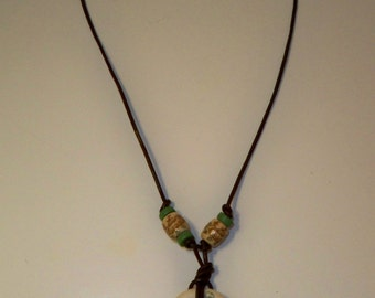 Asian Pendant Necklace, Bone Pendant with Dragonflies, Butterflies, Flowers & Ceramic Beads with Asian Characters on Brown Leather Cord