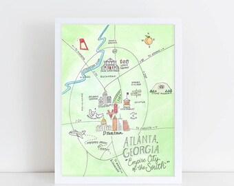 Atlanta, Georgia Watercolor Map Art Print