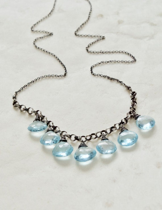 Blue Topaz Necklace - Gemstone and Sterling, December Birthstone