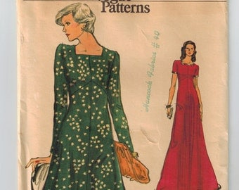Vintage 70s Empire Waist Dress Sewing Pattern Bust 38 High Fitted Flared Dress 2 Lengths Square Neckline Shaped Bodice Very Easy Vogue 9055