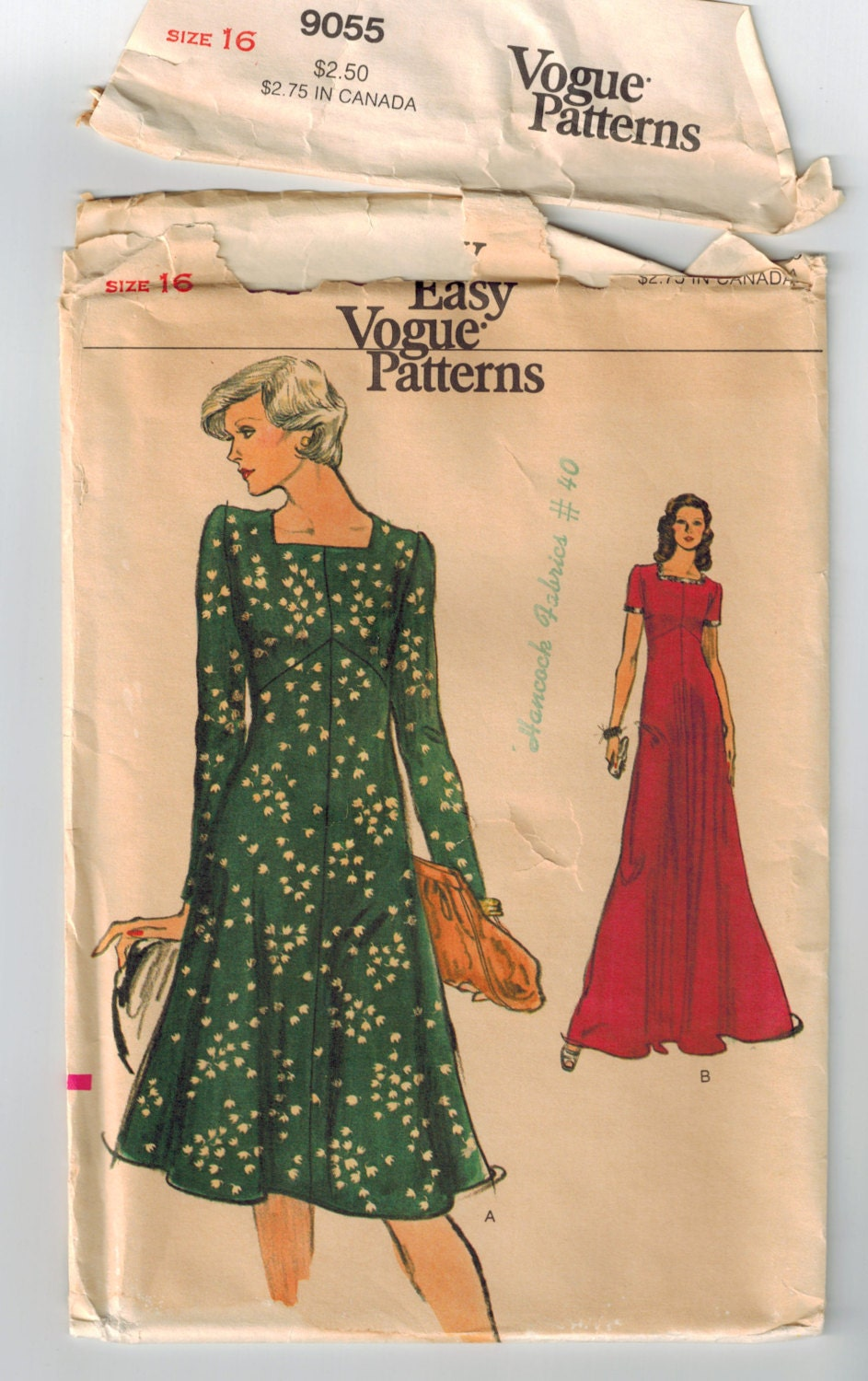 Vintage 70s Empire Waist Dress Sewing Pattern Bust 38 High