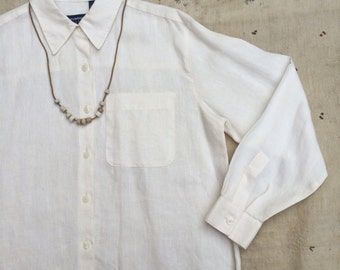 vintage oversized off white linen button down