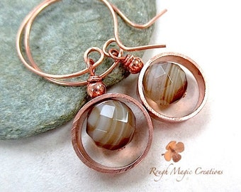 Copper and Gemstone Earrings, Botswana Agate Earthy Brown Stone, Geometric Circle Drops, Rustic Eco Friendly Metal, Boho Gift for Woman E437