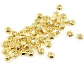 50 Bright Gold Beads for Jewelry Making 3mm Faceted Bicones TierraCast Heishi Beads Gold Spacer Beads Tiny Small 3mm Beads (PS177)