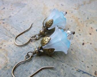 White Flower Earrings - Lucite Flowers, Crystal, Antique Brass Blooming Earrings