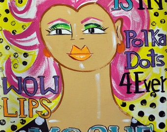 "Pink is In- Folk Pop Vogue Fashion Painting, 16"" x 20"""
