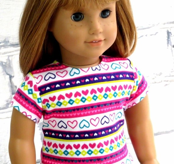American Girl Doll Pink Stripe Sweetheart Top, 18 inch Doll Clothes Hearts Tee Shirt