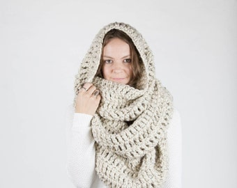 THE ALASKAN Extra Large Blanket Scarf Huge Chunky Infinity Scarf Oversized Shawl Hood / Oatmeal