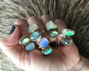 Raw opal ring | Labradorite ring | Multistone ring | Rough opal ring | Opal in silver ring | Labradorite statement ring | Chunky stone ring