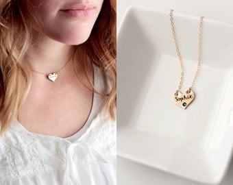 Heart Choker Necklace - Personalized Choker Gift for Her Heart Necklace Chain Choker Bridesmaid Gift Name Necklace Initial Keepsake